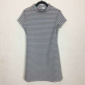 Free People Beach Gray & White Stripped High Neck
